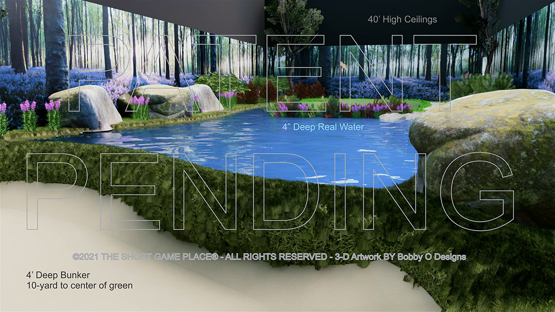indoor golf facility, 10 yard hole with bunker and water feature